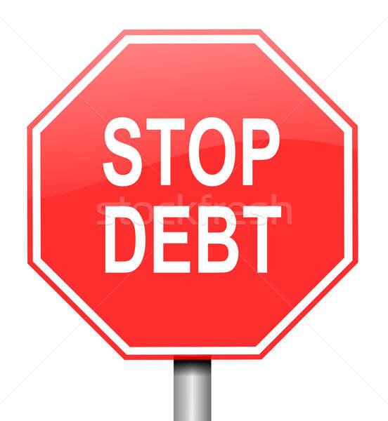 Foto stock: Pare · dívida · ilustração · vermelho · branco · aviso