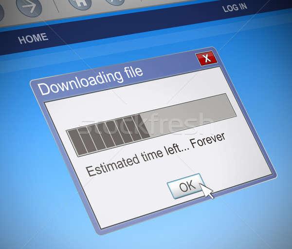 Lassú letöltés illusztráció számítógép üzenet doboz Stock fotó © 72soul