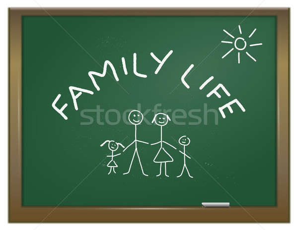 Vita di famiglia illustrazione verde gesso bordo famiglia Foto d'archivio © 72soul