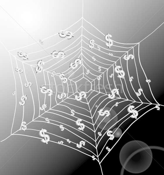Dinheiro armadilha ilustração teia de aranha preso Foto stock © 72soul
