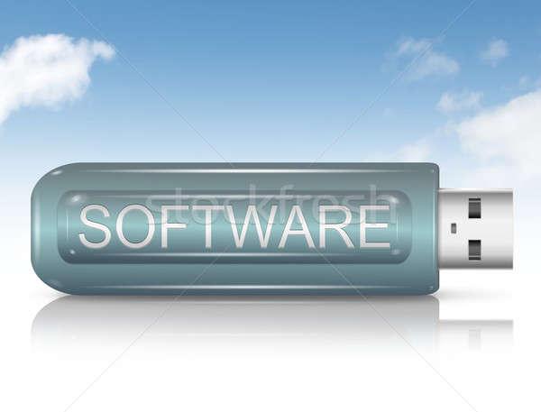 Software illustratie usb flash drive hemel pen Stockfoto © 72soul