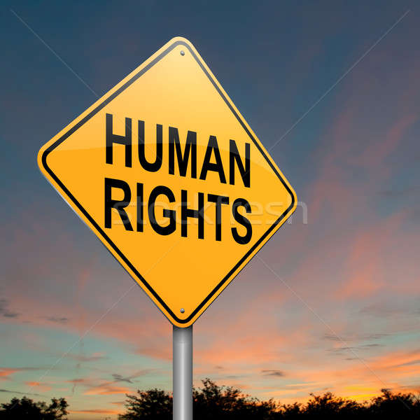 Direitos humanos ilustração crepúsculo céu assinar Foto stock © 72soul