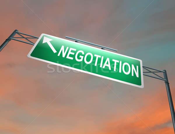 Tárgyalás illusztráció megvilágított autópálya felirat sötét Stock fotó © 72soul