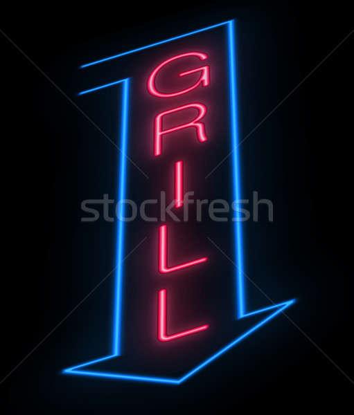 ızgara imzalamak örnek neon ev Stok fotoğraf © 72soul