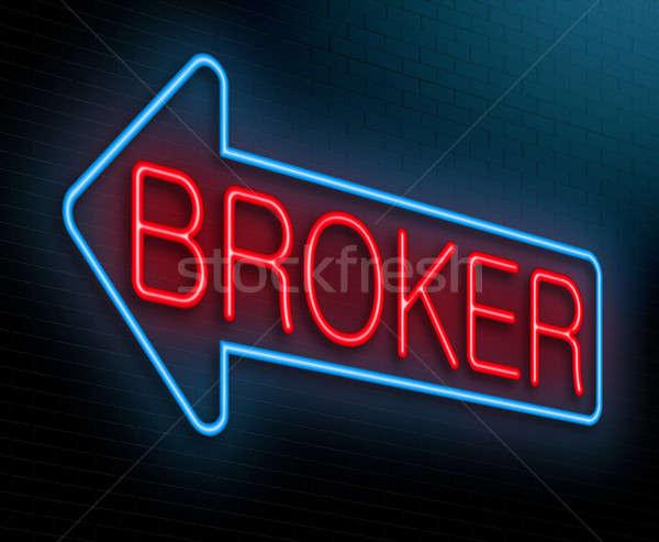 Broker Illustration beleuchtet Leuchtreklame blau finanziellen Stock foto © 72soul
