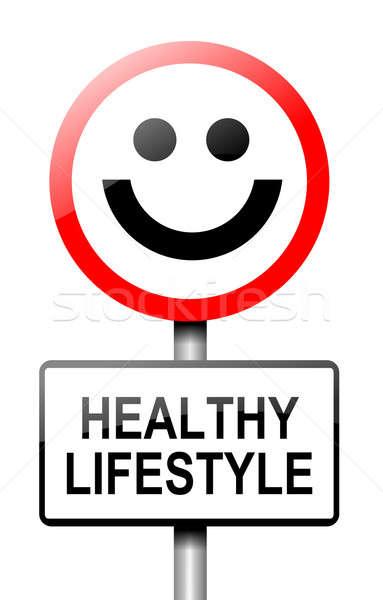 Egészséges életmód illusztráció út közlekedési tábla fehér étel Stock fotó © 72soul