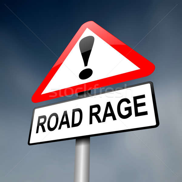 Drogowego wściekłość ilustracja znak drogowy ciemne niebo Zdjęcia stock © 72soul
