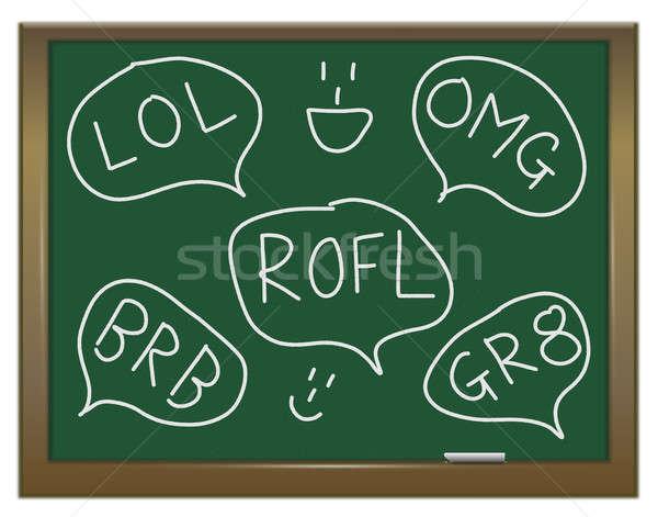 Metin örnek yeşil kara tahta konuşmak yazılı Stok fotoğraf © 72soul