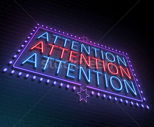 Aandacht teken illustratie verlicht neonreclame Rood Stockfoto © 72soul