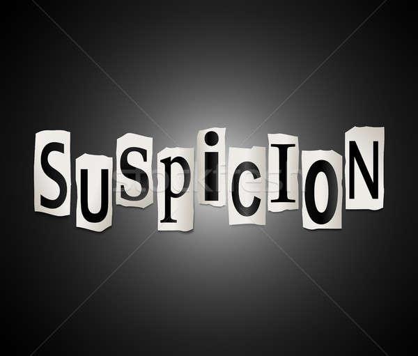 Verdacht Illustration Briefe Form Wort Stock foto © 72soul