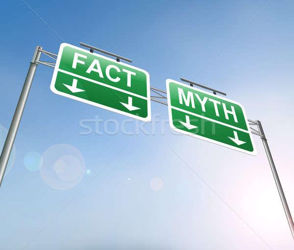 Tény tévhit illusztráció felirat zöld információ Stock fotó © 72soul