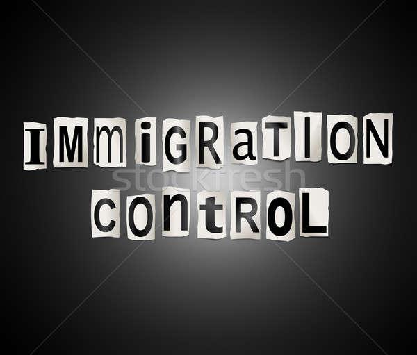 Immigratie controle illustratie ingesteld afgedrukt Stockfoto © 72soul