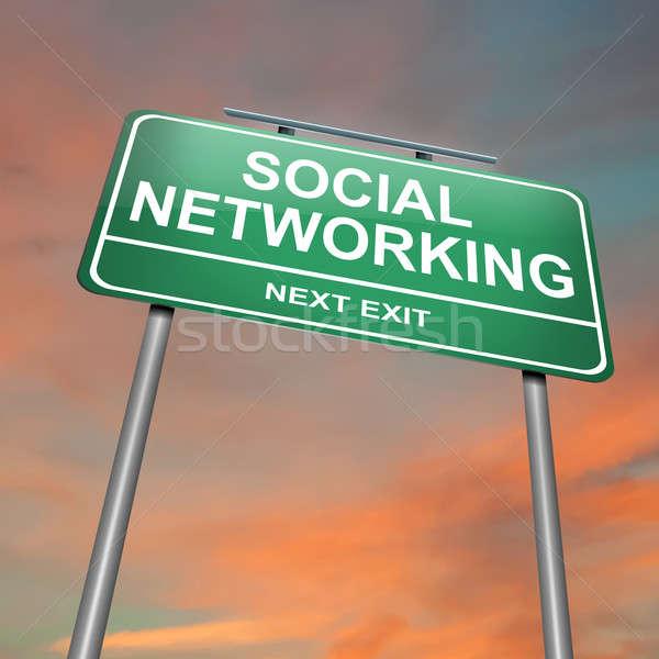 Social networking ilustração verde pôr do sol Foto stock © 72soul