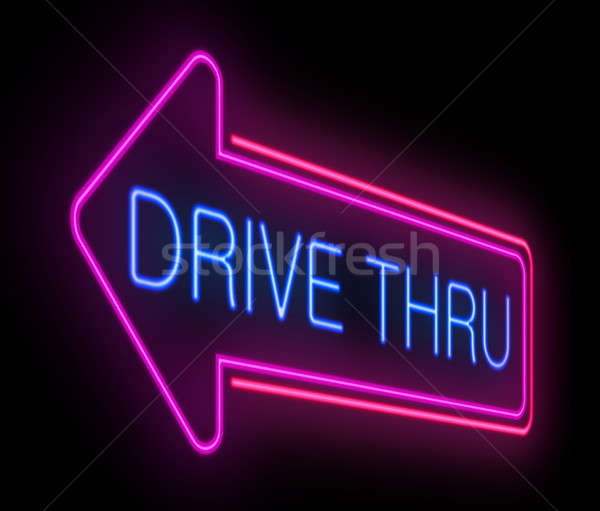 Drive thru neon sign. Stock photo © 72soul