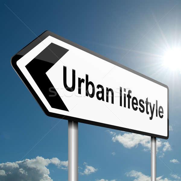 Urbano estilo de vida ilustração estrada sinaleiro blue sky Foto stock © 72soul