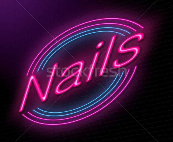 Manikűrös illusztráció megvilágított neonreklám körmök bár Stock fotó © 72soul