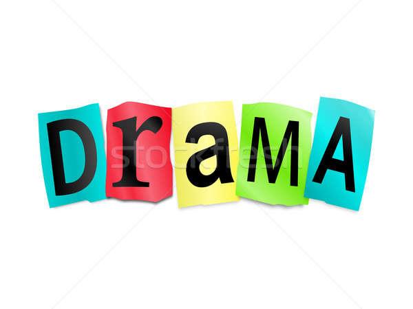 Drama illustratie afgedrukt brieven vorm Stockfoto © 72soul