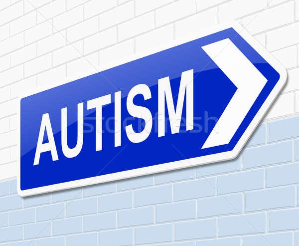 Autismus Illustration Zeichen medizinischen Krankenhaus Grafik Stock foto © 72soul