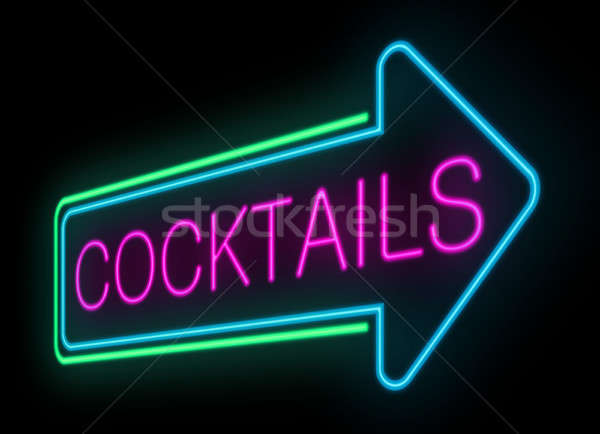 Neon cocktails sign. Stock photo © 72soul