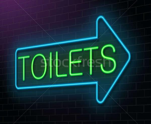 Toilettes enseigne au néon illustration vert bleu Photo stock © 72soul