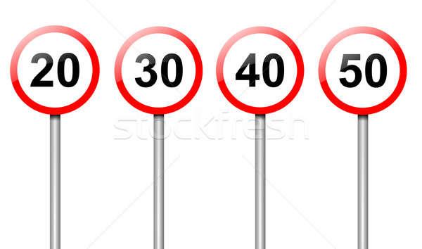 Stok fotoğraf: Hız · limiti · işaretleri · örnek · dört · yol · işaretleri · yol