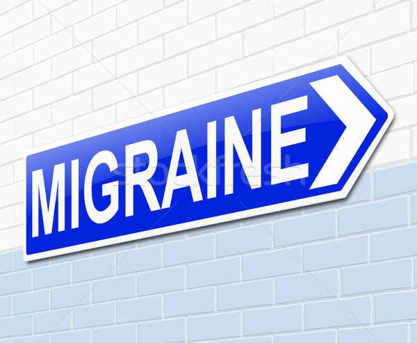 Migräne Illustration Zeichen medizinischen Krankenhaus blau Stock foto © 72soul