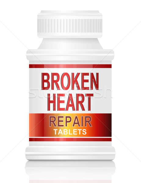 összetört szív illusztráció gyógyszer konténer szavak javítás Stock fotó © 72soul