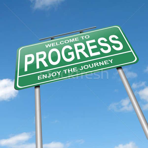Vooruitgang illustratie groene blauwe hemel business Stockfoto © 72soul