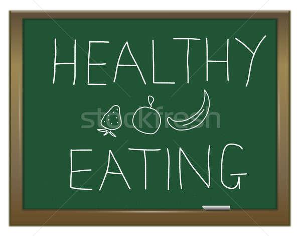 Gesunde Ernährung Illustration grünen Tafel geschrieben Schule Stock foto © 72soul