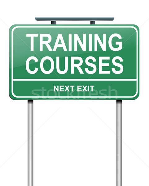 Képzés illusztráció zöld útjelzés munka diák Stock fotó © 72soul