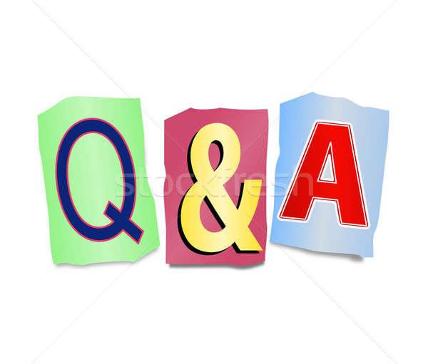 Kérdések válaszok illusztráció szett kivágás nyomtatott Stock fotó © 72soul