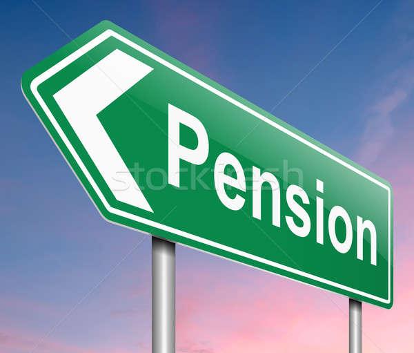 Pensão ilustração assinar dinheiro verde placa sinalizadora Foto stock © 72soul