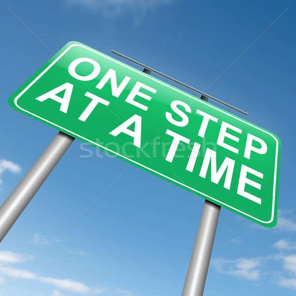 Egy lépés idő illusztráció útjelzés égbolt Stock fotó © 72soul
