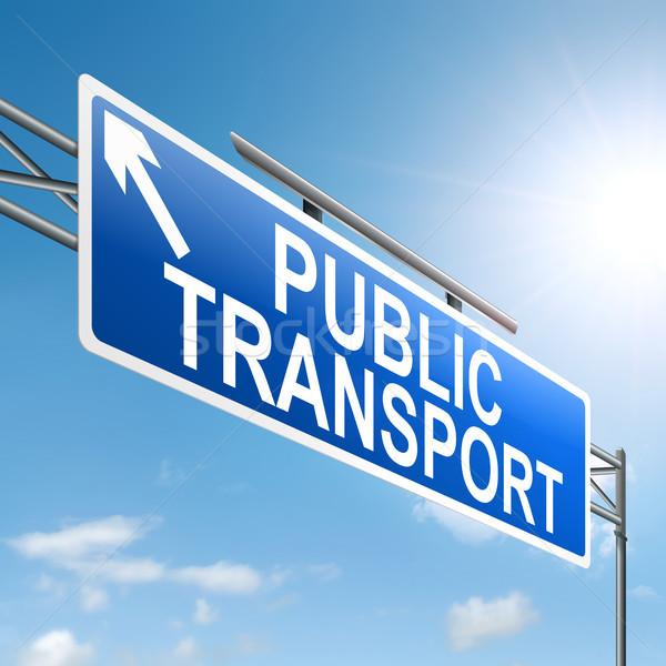 Openbaar vervoer illustratie teken business hemel weg Stockfoto © 72soul