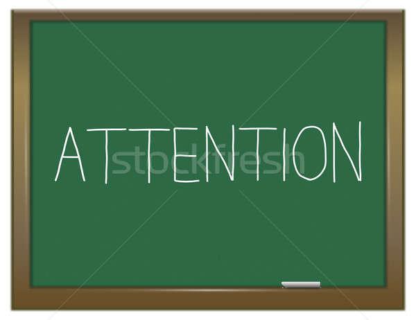 Aandacht krijt boord illustratie groene schoolbord Stockfoto © 72soul