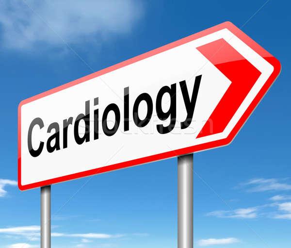 Kardiológia illusztráció felirat égbolt orvosi kék Stock fotó © 72soul