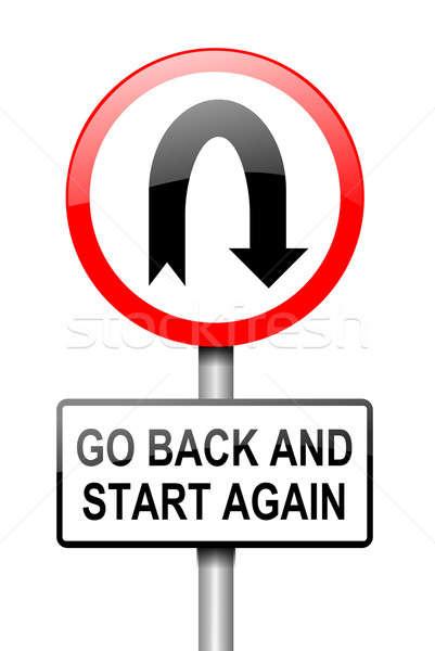 Başlatmak örnek kırmızı beyaz yol işareti geri Stok fotoğraf © 72soul