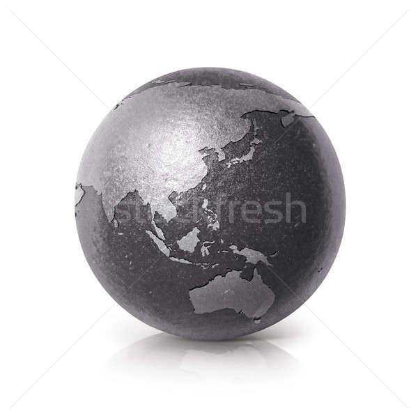 Siyah demir dünya 3d illustration Asya Avustralya Stok fotoğraf © 7Crafts
