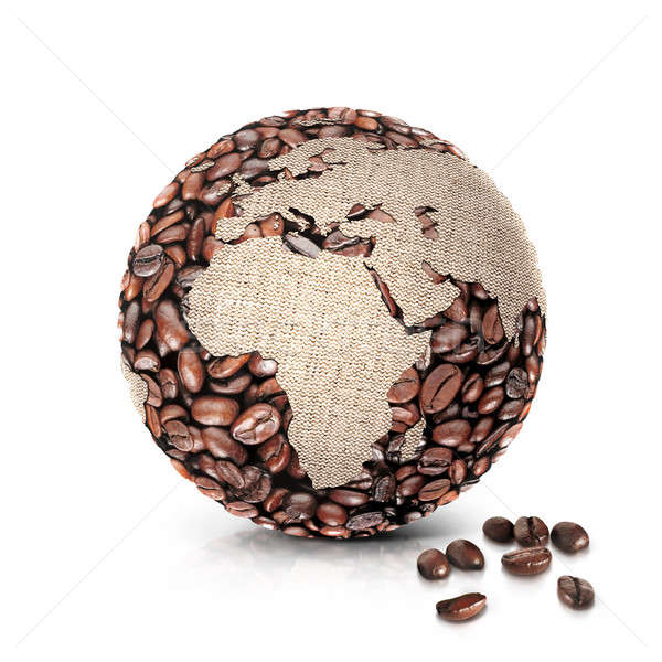 Koffie wereld 3d illustration Europa afrika kaart Stockfoto © 7Crafts
