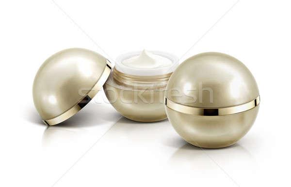 Iki altın küre kozmetik kavanoz beyaz Stok fotoğraf © 7Crafts