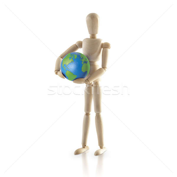 Ayakta ahşap model dünya beyaz Stok fotoğraf © 7Crafts