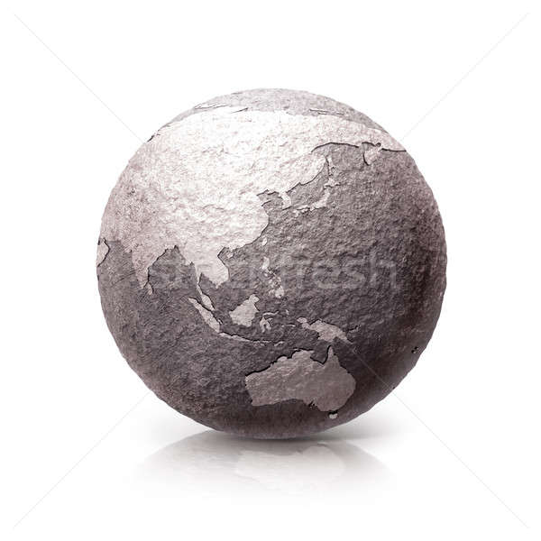 Old Stone globe 3D illustration Asia & Australia map Stock photo © 7Crafts