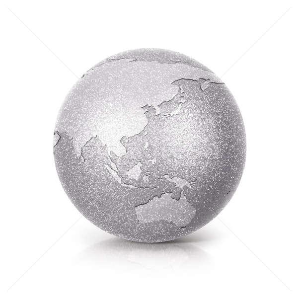Silver Glitter globe 3D illustration Asia & Australia map Stock photo © 7Crafts