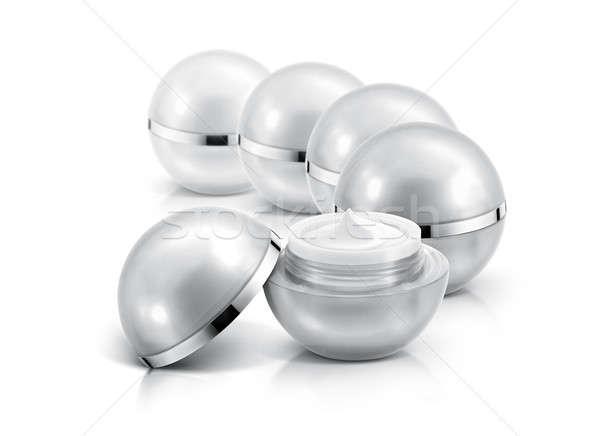 Verscheidene zilver bol cosmetische jar witte Stockfoto © 7Crafts