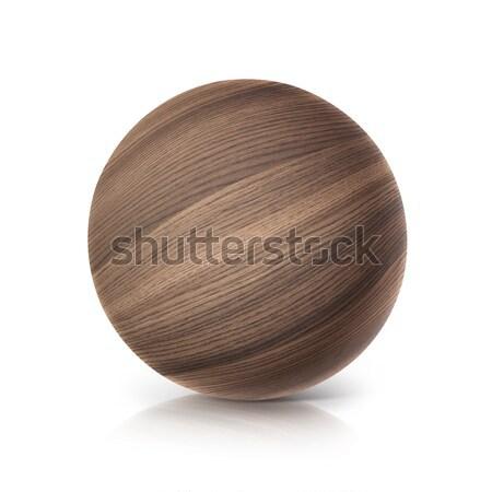 oak wood ball 3D illustration Stock photo © 7Crafts