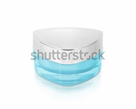 Stockfoto: Blauw · driehoek · cosmetische · jar · witte · groene