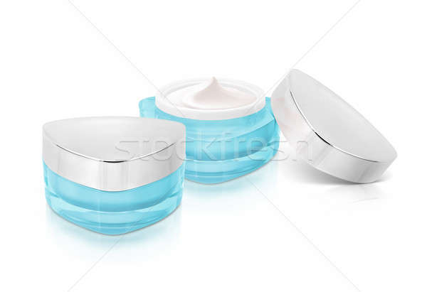 Stockfoto: Twee · Blauw · driehoek · cosmetische · jar · witte