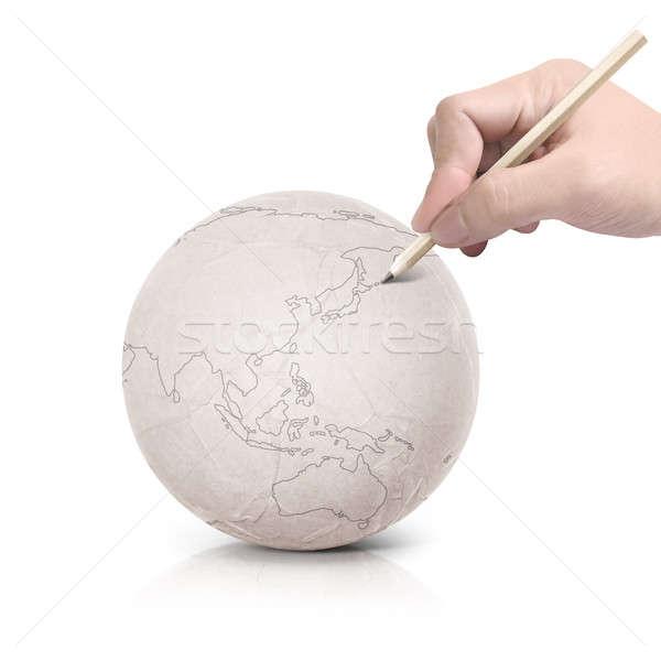 Tekening asia kaart papier bal witte Stockfoto © 7Crafts