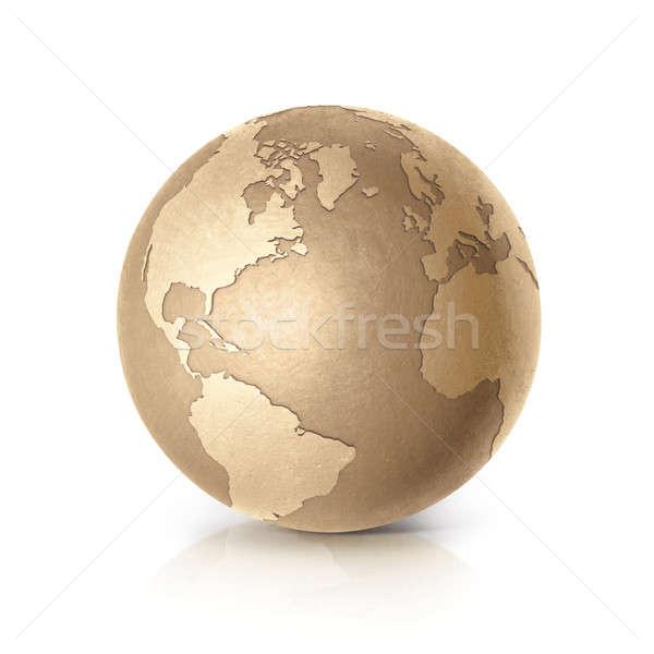 Altın dünya 3d illustration kuzey güney amerika harita Stok fotoğraf © 7Crafts