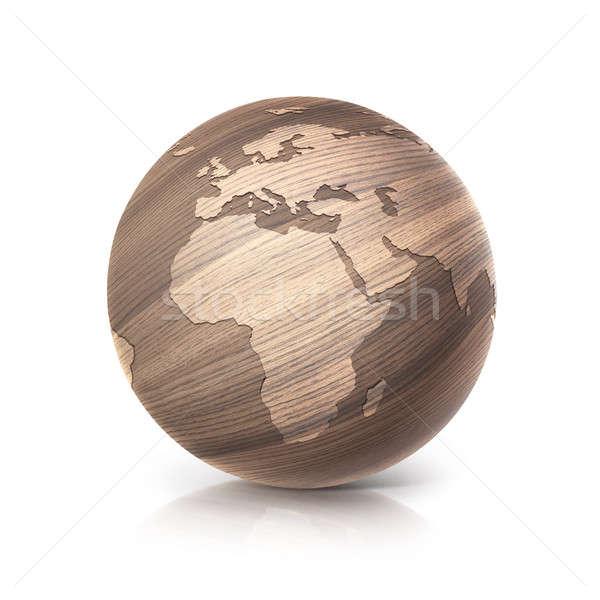 Tölgy fa földgömb 3d illusztráció Európa Afrika Stock fotó © 7Crafts